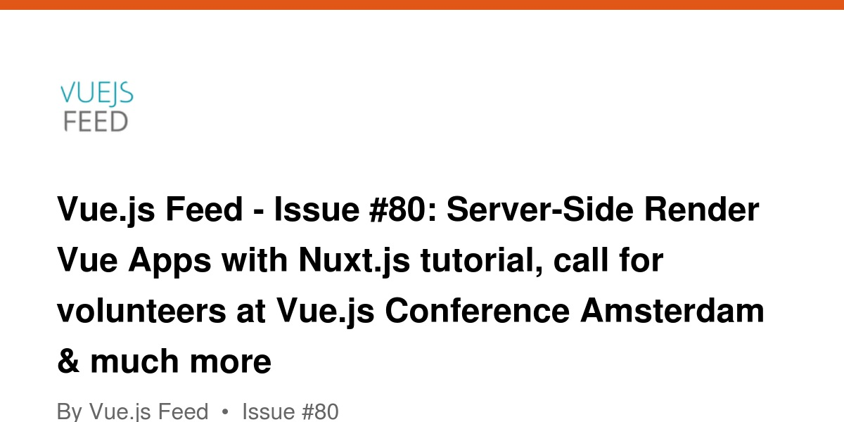 Vue js Feed - Issue #80: Server-Side Render Vue Apps with