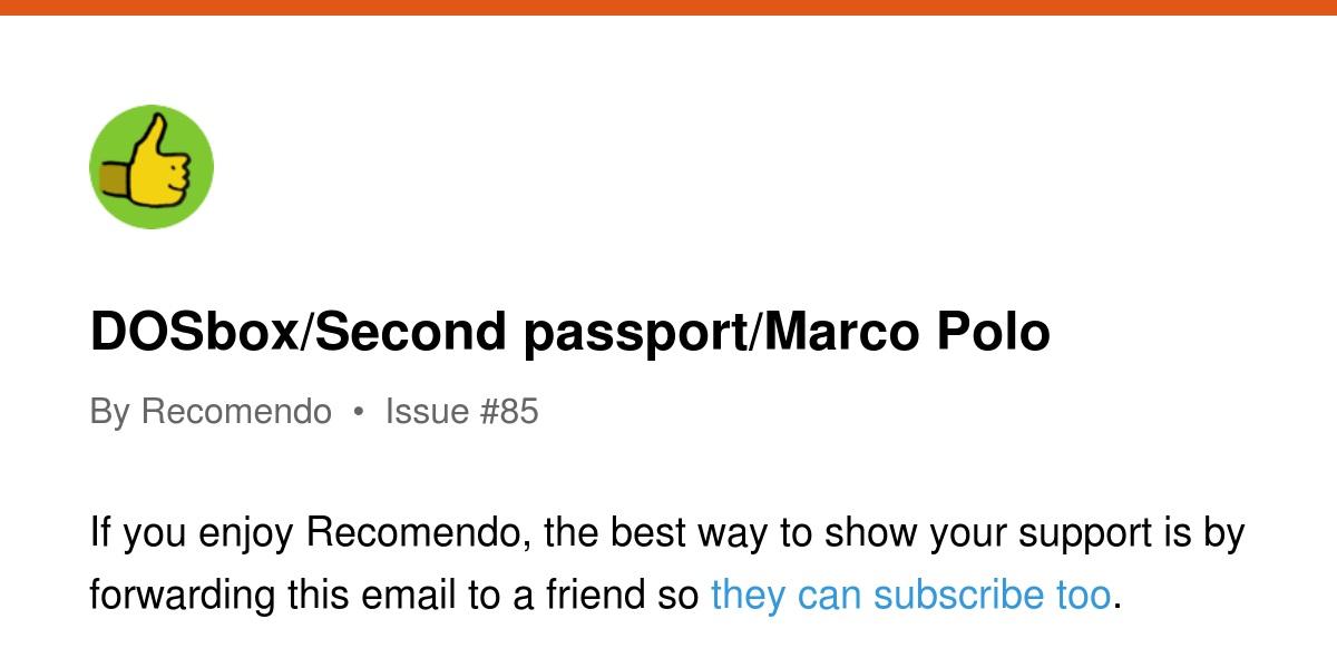 DOSbox/Second passport/Marco Polo | Revue