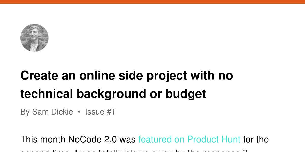 create an online side project with no technical background or budget