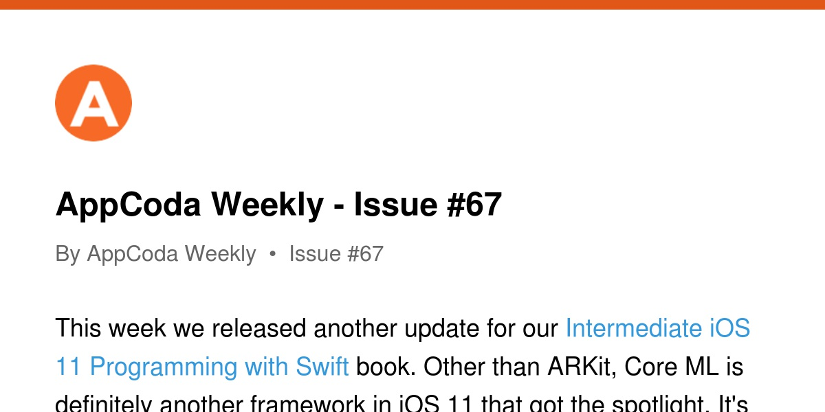 AppCoda Weekly - Issue #67 | Revue