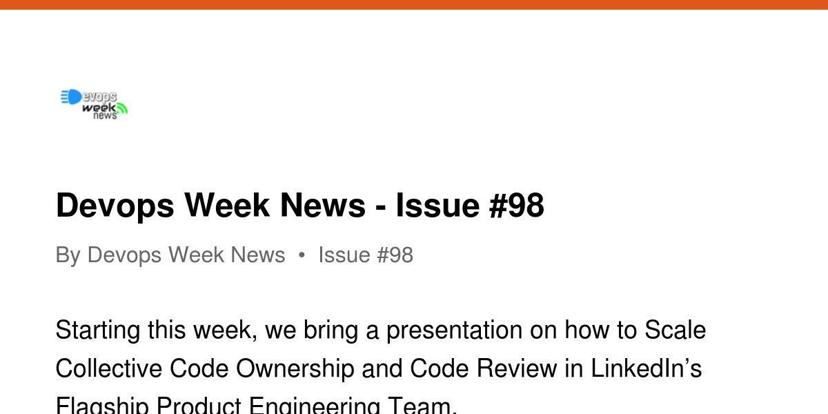 Devops Week News - Issue #98 | Revue