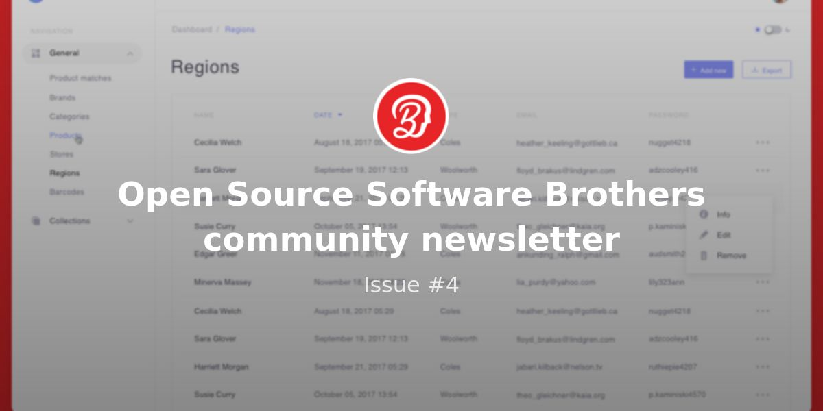 Open Source Software Brothers Community Newsletter Issue 4 Revue