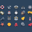 Dribbble - (FREE!!) Sea Elements Icons by Sunbzy