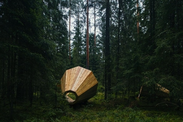 These beautiful huge wooden megaphones reveal the song of the forest.