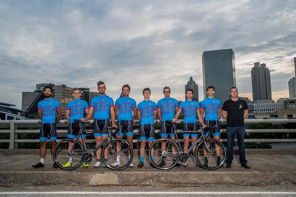 An Atlanta-based Elite cycling team on Snyder custom steel.