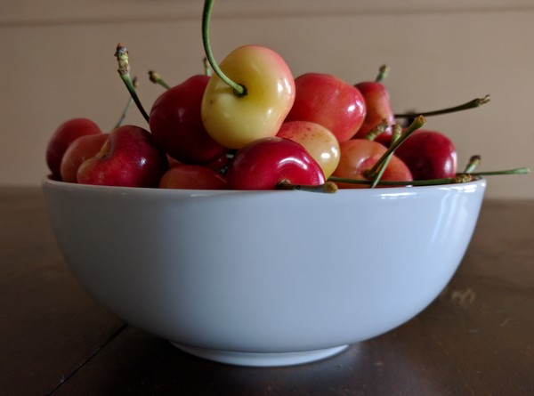 It's cherry season, the second-best time of year. (Peach season is coming up.) Thanks Mom!