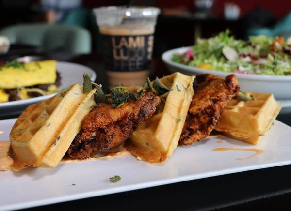 """Fried Chicken & Scallion-Sage Waffles"" by Lamill (@welikela)"