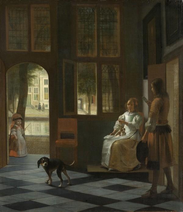 Het aanreiken van een brief in een voorhuis, Pieter de Hooch, 1670