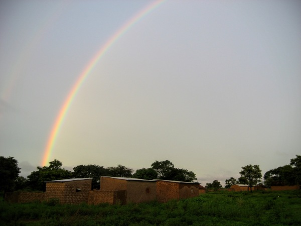 Morning rainbow over my hut in Kongolikoro, Mali.