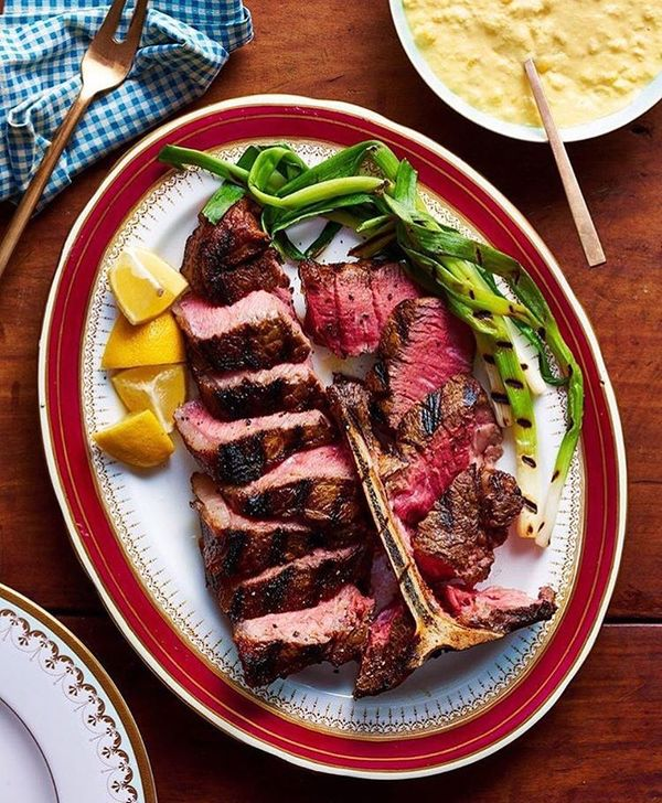 """""""Grilled Porterhouse with Creamed Corn"""" by Gwen (@curtisstone)"""