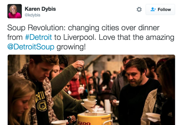 Detroit has eaten soup together more than 130 times, and the community has awarded $124,000 to 57 different projects.