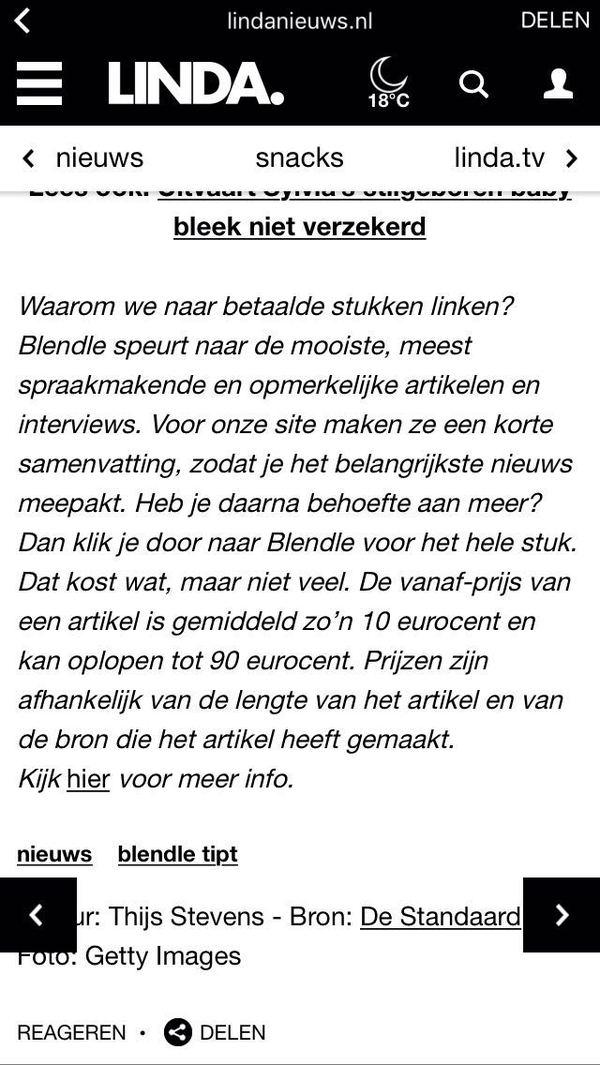 Screenshot Lindanieuws.nl