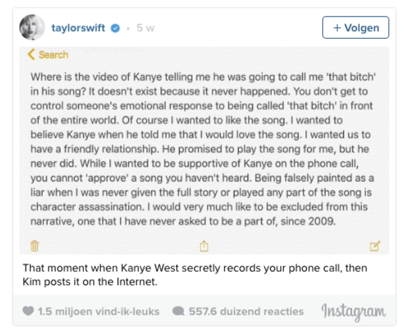 Taylor Swift over een eenzijdige ruzie met Kanye West op haar Instagram