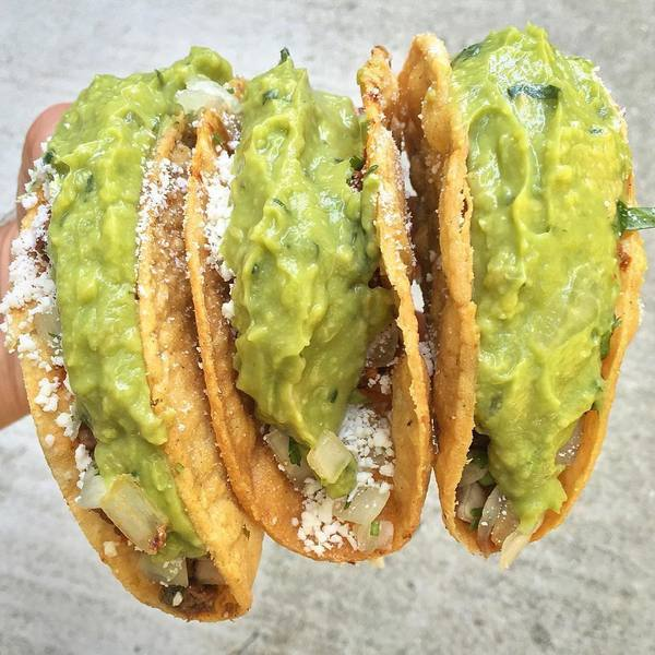 """Al Pastor Tacos with Guac"" by Hugo's Tacos (@bingeeaterconfessions)"
