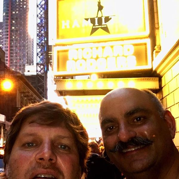 Outside the Richard Rogers Theatre - about to see Hamilton with Mohnish Pabrai