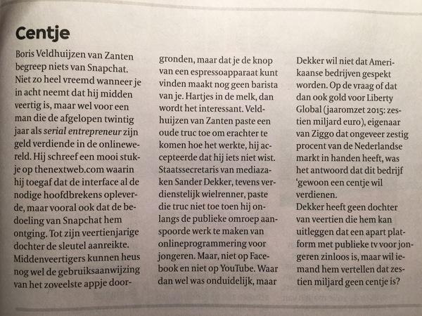 Hoofdredactioneel commentaar van Hugo Blom in de VPRO Gids van deze week