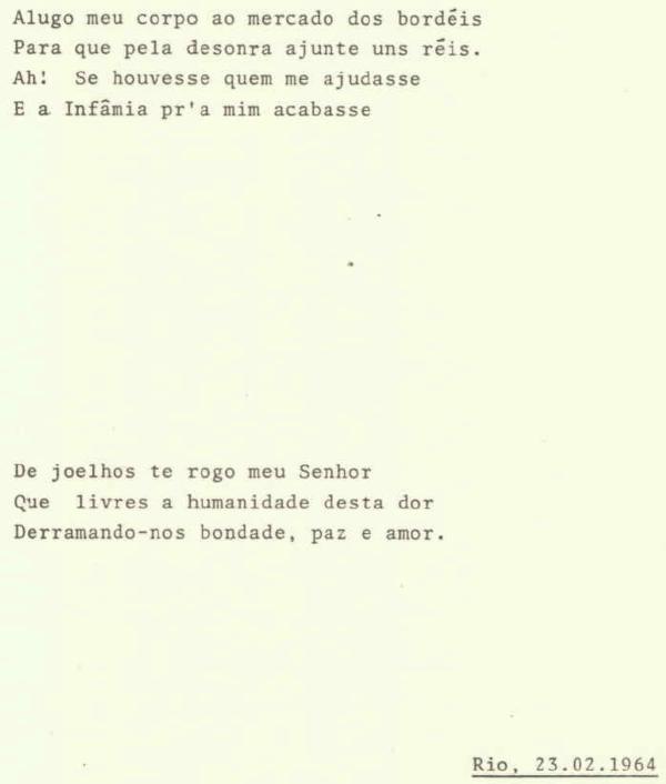 Meu pai tinha um primo que fazia poesias muito loucas em 1964.