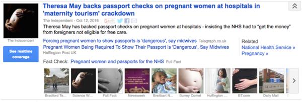 Zo ziet de factcheck van Google News eruit.