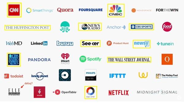 Zusammen mit Google Home werden 10 Publisher auf der Plattform starten