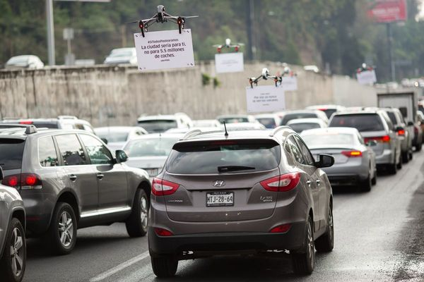 Uber using drones to market to drivers in traffic.