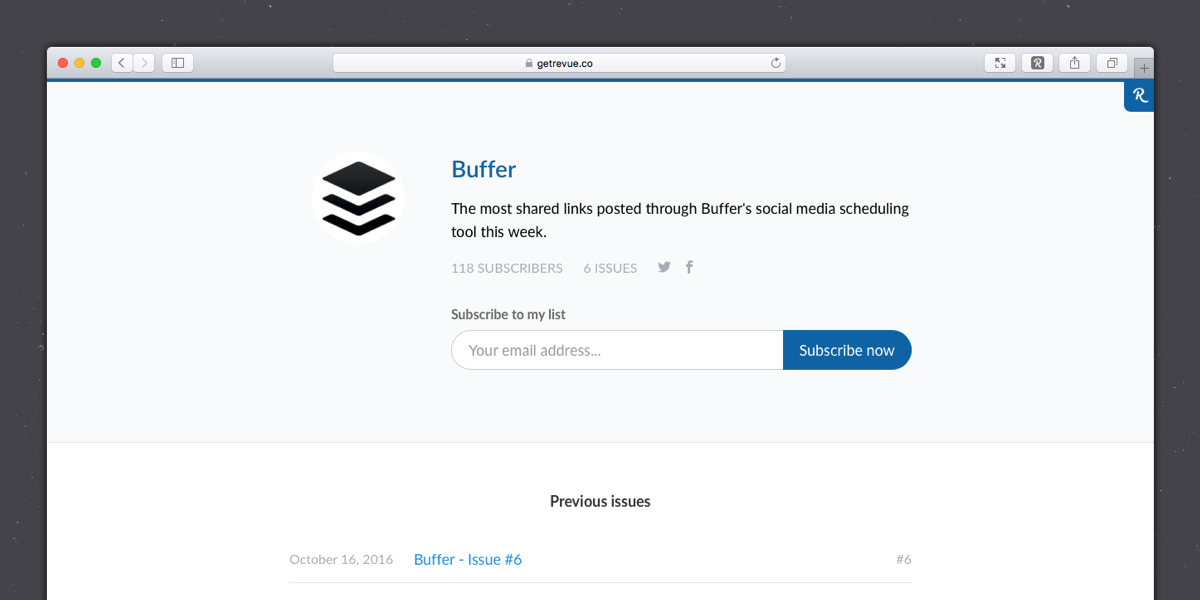 The Buffer profile page