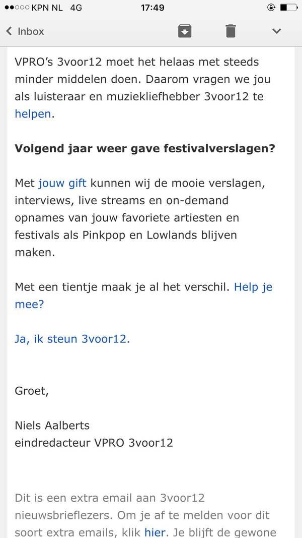Zelfs 3voor12 heeft crowdfunding nodig, getuige deze mail aan nieuwsbrieflezers