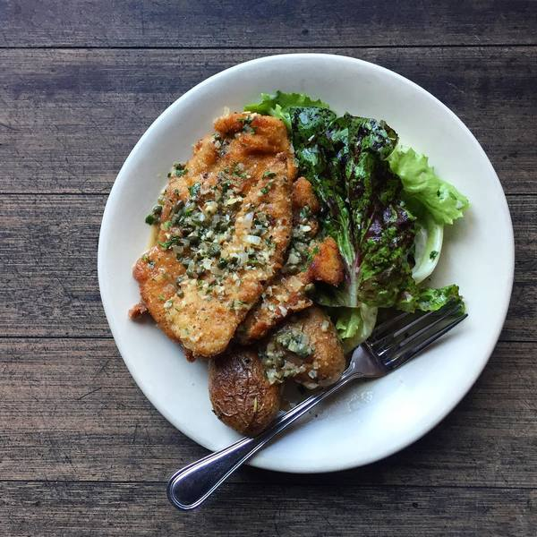 """Chicken Piccata with Roasted Potatoes"" by Rustic Canyon (@chefjeremyfox)"