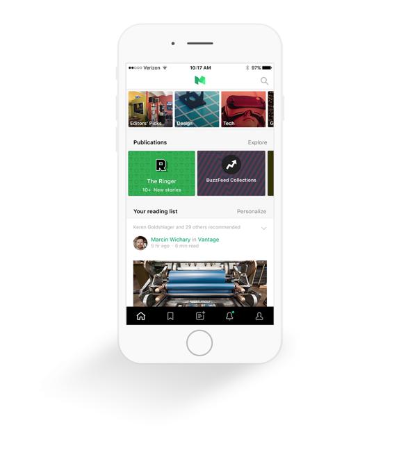 'Publications' in de app van Medium