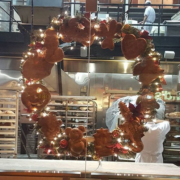 Boudin Bakery Wreath of Bread for the Holidays in San Francisco