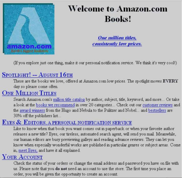 Amazon home page 1995