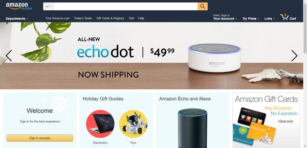 Amazon website 2016