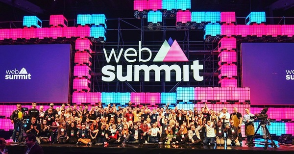 The entire Web Summit team on stage! I'm on the far left.
