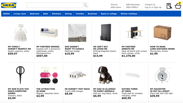 Ikea has a website answering Search Queries with products