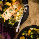 Curry Roasted Salmon & Veggies With Tahini Sauce over Basmati - Pass The Sushi
