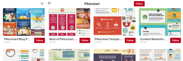 Over 40 different boards on Piktochart