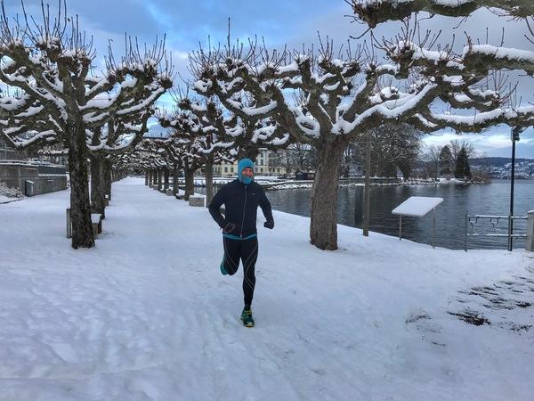a winter run in Richterswil, Switzerland