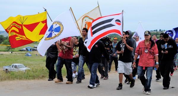Protest van de Standing Rock Sioux tegen de North Dakota Access Pipeline