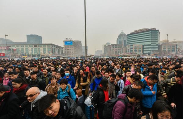 Chinese New Year rush, Beijing train station, 2015. Photo by Matjaž Tančič