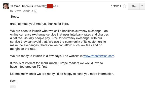 TranferWise co-founder and CEO pitches me on January 19th 2011