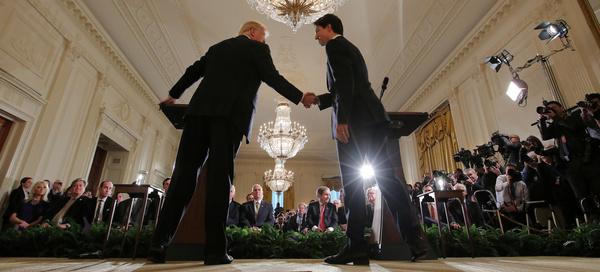President Trump ontvangt de Canadese premier Trudeau in het Witte Huis (foto: Reuters)