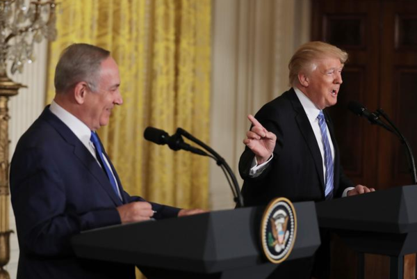 De persconferentie van Netanyahu en Trump in het Witte Huis (foto: Reuters)