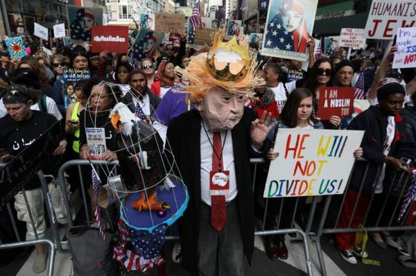 Opnieuw waren er dit weekeinde protesten tegen het reisverbod (foto: Reuters)