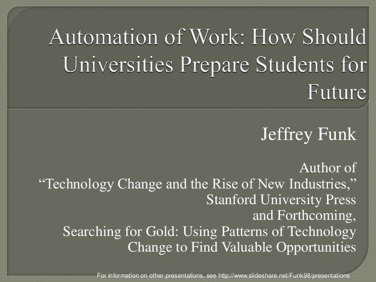 Automation of Work: How should universities prepare students