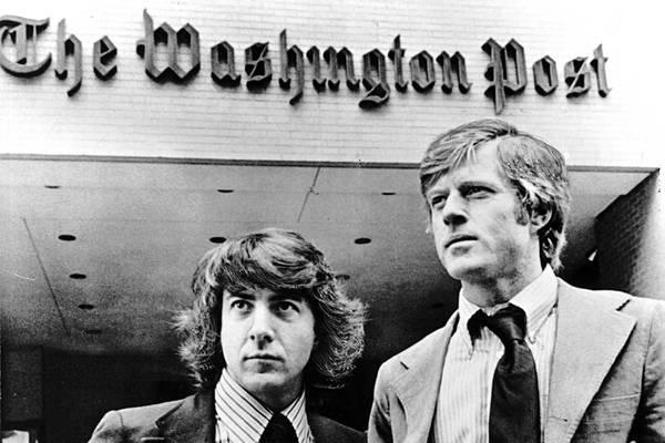 Dustin Hoffmann en Robert Redford speelden Bernstein en Woodward in de verfilming van hun boek 'All the president's men' (foto: Warner Bros)