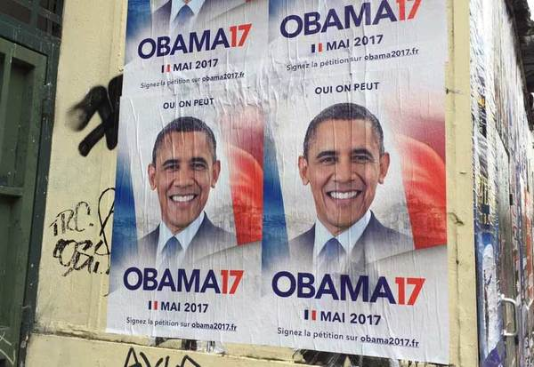 'Verkiezingsaffiches' in Parijs voor Obama, le Président