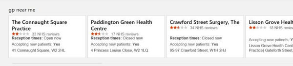 Bing UK now displaying National Health Service data for GP & hospital search queries