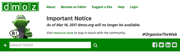 DMOZ is closing down