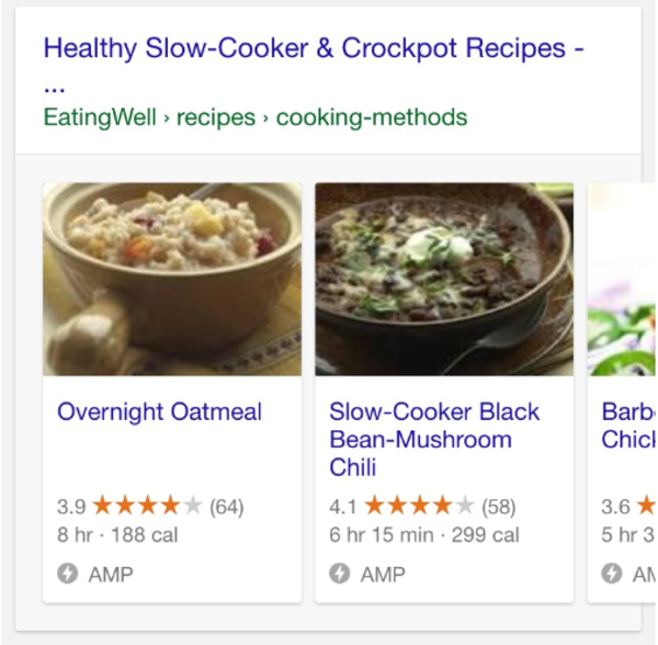 Google AMP Recipe Carousels Live in Search Results