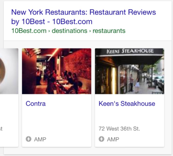 Google Showing AMP Carousels for Local Review Sites