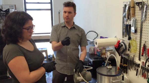 Kari Love and Matt Borgatti making a soft robotic finger at SuperReleaser